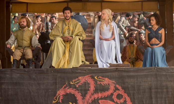 Game of Thrones,Series 5,Episode 9,The Dance of Dragons Dinklage, Peter;Fry, Joel;Clarke, Emilia;Emmanuel, Nathalie as Tyrion Lannister;Hizdahr Zo Loraq;Daenerys